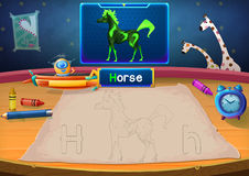 Martian Class: H - Horse. Hello, I'm Little Martian. I just open a class for all Martians to learn English. Will you join us? Watch, Learn, and use crayons Stock Illustration