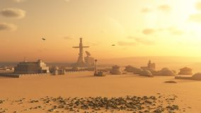 Martian Desert Colony. Science fiction illustration of a future colony settlement on Mars, 3d digitally rendered illustration Royalty Free Stock Image