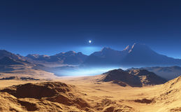 Martian desert landscape Royalty Free Stock Image