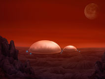 Martian Domes - Digital Painting. Sci-fi illustration of dome shaped habitats on planet Mars Royalty Free Stock Image