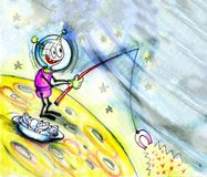 Martian fishing in space. Fantasy world. Comic scene. Hand drawing of imaginary cosmos scene Royalty Free Stock Image