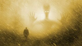 Martian in forest. With human, extraterrestrial and paranormal effects Stock Photos