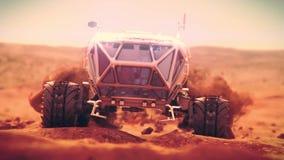 Martian heavy rover moves over rough terrain of Mars