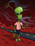 Martian Hitchhiker. A cartoon illustration of an alien in a funny situation stock illustration
