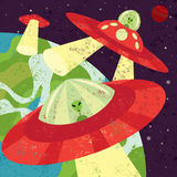 Martian Invasion. Martians in spaceships starting their invasion. The martian spaceships are on a separate labeled from the space background Royalty Free Illustration