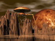 Martian landscape. And war machine - 3d illustration Royalty Free Stock Images
