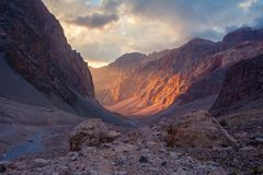 Free Martian Landscape In Mountains Of Tajikistan, Pamir-Alay. Sun Illuminates Of Rock Wall On Sunset In Canyon Of Fann Mountains Royalty Free Stock Image - 163539836