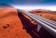 Martian landscape industrial pipeline Royalty Free Stock Images