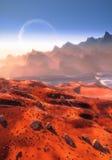 Martian landscape and Phobos moon Stock Photos