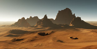 Martian landscape. Sunset on Mars. 3D rendering Stock Photos