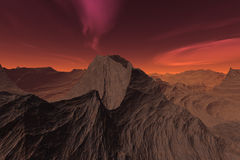 Martian red sky desert landscape Royalty Free Stock Photos