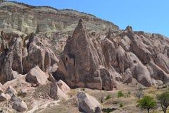 The martian rocky landscape in Cappadocia region Royalty Free Stock Photos