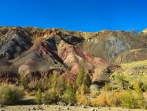 Martian rocky landscape on Earth. Kyzyl-Chin or Altai Mars red rocks mountains. Altai. Russia royalty free stock photos