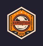 Martian scientific expedition vintage label Royalty Free Stock Photos