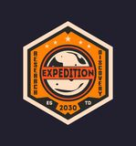 Martian scientific expedition vintage label stock illustration