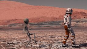 Martian sneaks behind an astronaut on Mars. Astronaut meets a Martian on Mars. First contact. Alien on Mars. 3d