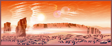 Martian wind storms. Vector illustration of landscape of a Mars planet. Great Martian sandstorm with tornado. Illustration seamless horizontally if needed Royalty Free Stock Images