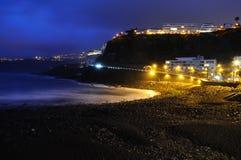 Martianez Beach, in Puerto de la Cruz. A night view of Martianez Beach, in Puerto de la Cruz, Canary Islands, Spain Stock Photo
