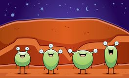 Martians. A group of cartoon aliens on Mars Royalty Free Illustration