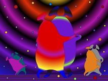 The Martians are dancing tango. Couples of aliens Martians rest and dance tango on the dance floor against the background of a cosmic abstract landscape. Cartoon Stock Illustration