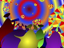 Martians tourists in the space tour. Multicolored colored aliens Martian fly on an excursion into space against a background of planets with an abstract pattern Stock Illustration