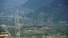 Martigny从小山的市特写镜头 股票视频