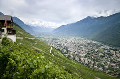 Martigny in the Rhone valley stock photography