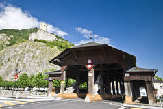 Martigny wooden bridge Stock Images