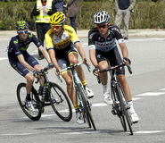 Martijn Keizer(L) and Maxime Bouet(R) ride during the Tour of Catalonia. Cycling race through the streets of Monjuich mountain in Barcelona on March 29, 2015 Stock Images