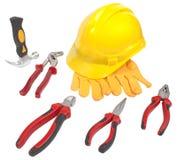 Martillo, casco, guantes, llave inglesa, alicates, pinzas, cortador, llave Imagen de archivo