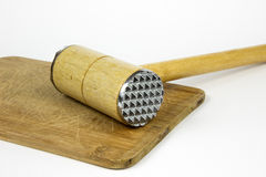 Martillo de la carne de madera Foto de archivo