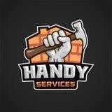 Martillo práctico de la mano del logotipo de los servicios imagenes de archivo