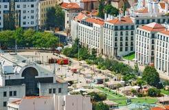 Martim Moniz square. Aerial view of old streets of Lisbon. Martim Moniz square royalty free stock photo