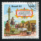 Martin Afonso de Souza Reading Charter to Settlers. BRAZIL - CIRCA 1982: stamp printed by Brazil, shows Martin Afonso de Souza Reading Charter to Settlers, circa stock photo