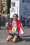 Martin Dematteis just after the finish line at the Rome Marathon Royalty Free Stock Photo