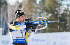 Martin Fourcade (FRA) ) on a firing line Stock Image