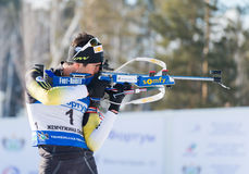 Martin Fourcade (FRA) ) on a firing line Royalty Free Stock Photography