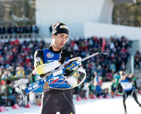Martin Fourcade (FRA) ) on a firing line Stock Photo