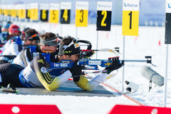 Martin Fourcade (FRA) and other on a firing line Stock Photos