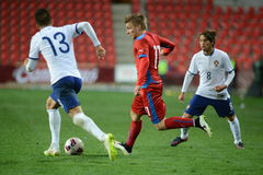 Martin Frydek and Joao Cancelo. In back is Iuri Medeiros. PRAGUE 31/03/2015 _ Friendly match Czech Republic U21 - Portugal U21 Stock Images