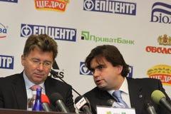Martin Kallen (L) listens Markiyan Lubkivsky (R) Stock Images