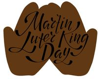 Martin Luter King day - hand lettering inscription to design, black and white ink calligraphy stock illustration