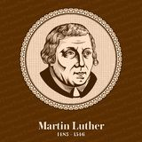 Martin Luther 1483 – 1546 was a German professor of theology, composer, priest, monk, and a seminal figure in the Protestant royalty free illustration
