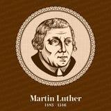 """Martin Luther 1483 †""""1546 był Niemieckim profesorem teologia, kompozytorem, księdzem, michaelitą i nasiennym postacią w protest royalty ilustracja"""