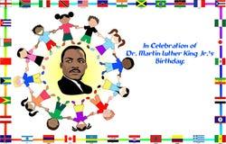 Martin Luther King con los cabritos Fotos de archivo libres de regalías