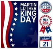 Martin Luther King daguppsättning Arkivbild