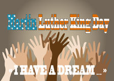 Martin Luther King Day. Hands of different people are lifted upwards stock illustration