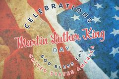 Composite image of martin luther king day. Martin Luther king day against close-up of crumbled american flag royalty free stock photo