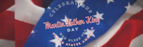 Composite image of martin luther king day. Martin Luther king day against close-up of crumbled national flag stock illustration