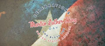Composite image of martin luther king day. Martin Luther king day against close-up of wrinkled national flag royalty free stock photos